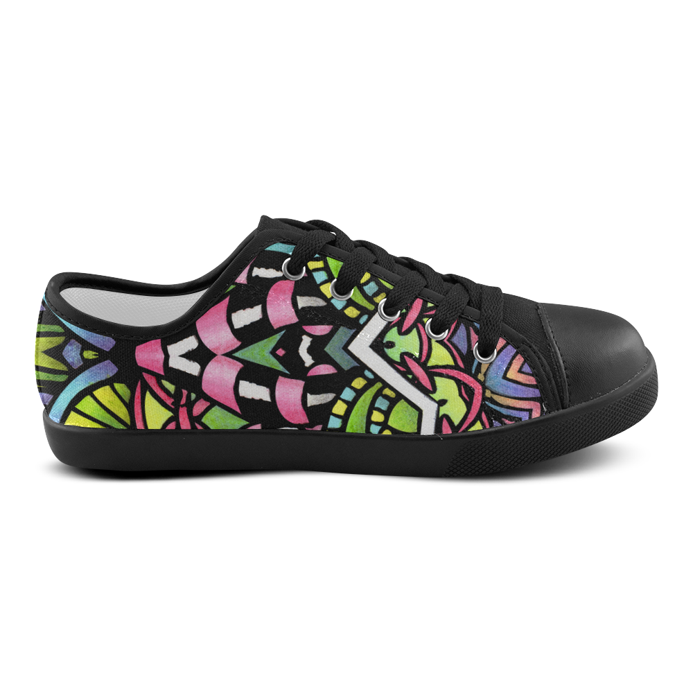 psychedelic leaves and flowers abstract art Canvas Kid's Shoes (Model 016)