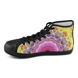 pink passion yellow mandala abstract art Men's High Top Canvas Shoes (Model 002)