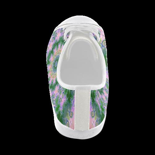 Rose Pink Green Explosion of Flowers Mandala Men's Canvas Shoes (Model 016)