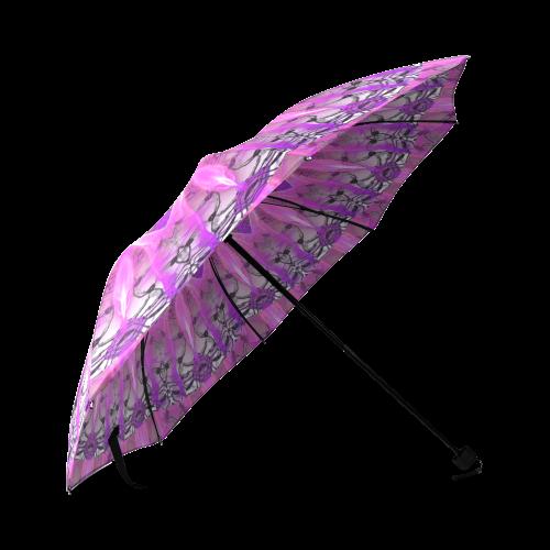 Lavender Lace Abstract Pink Light Love Lattice Foldable Umbrella (Model U01)