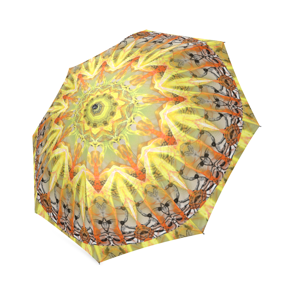 Golden Feathers Orange Flames Abstract Lattice Foldable Umbrella (Model U01)