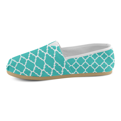 turquoise white quatrefoil classic pattern Unisex Casual Shoes (Model 004)