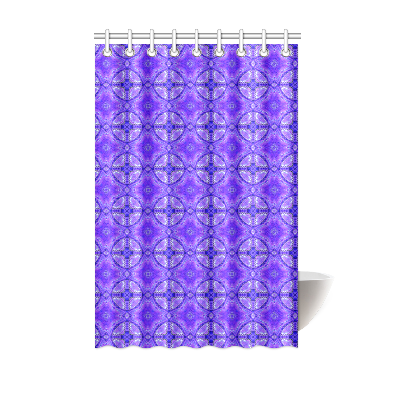 """Purple Abstract Flowers, Lattice, Circle Quilt Shower Curtain 48""""x72"""""""