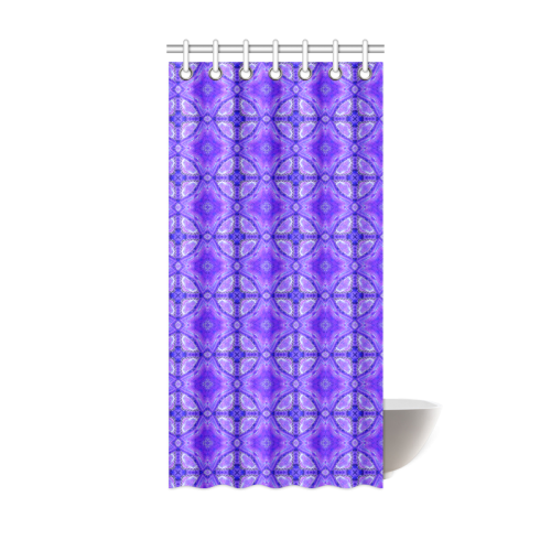 """Purple Abstract Flowers, Lattice, Circle Quilt Shower Curtain 36""""x72"""""""