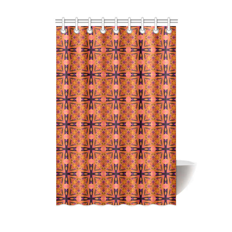 "Peach Purple Abstract Moroccan Lattice Quilt Shower Curtain 48""x72"""