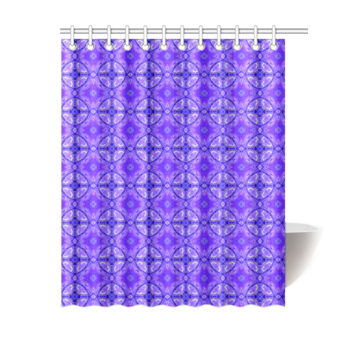 "Purple Abstract Flowers, Lattice, Circle Quilt Shower Curtain 60""x72"""