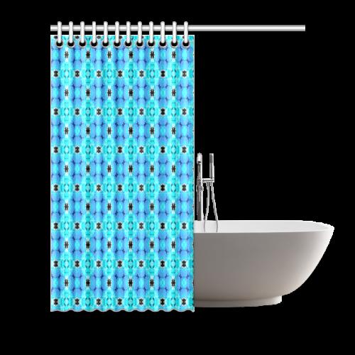"Vibrant Modern Abstract Lattice Aqua Blue Quilt Shower Curtain 66""x72"""