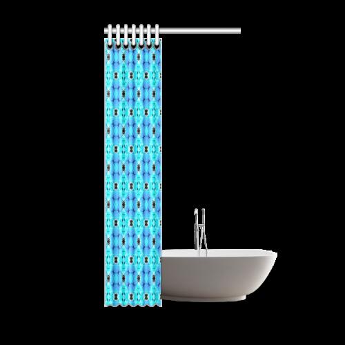 "Vibrant Modern Abstract Lattice Aqua Blue Quilt Shower Curtain 36""x72"""
