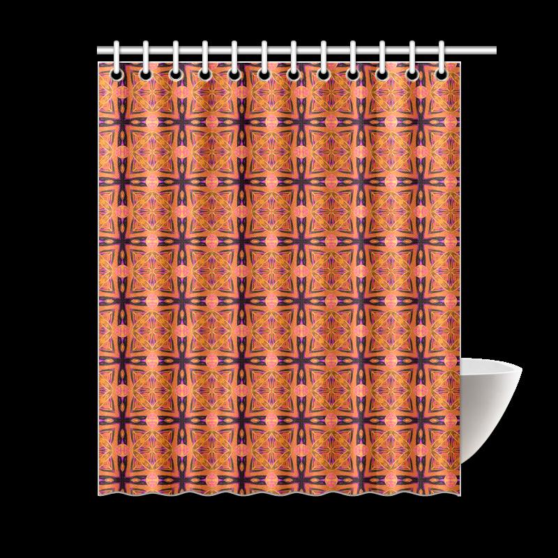 "Peach Purple Abstract Moroccan Lattice Quilt Shower Curtain 60""x72"""