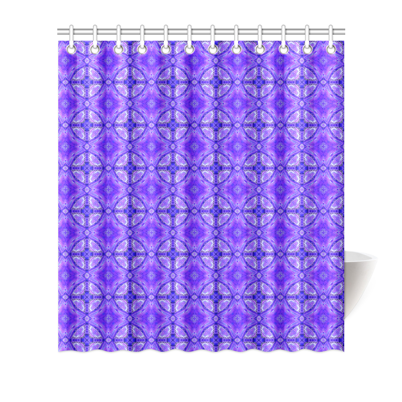 "Purple Abstract Flowers, Lattice, Circle Quilt Shower Curtain 66""x72"""