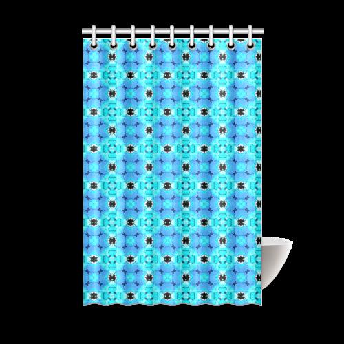"Vibrant Modern Abstract Lattice Aqua Blue Quilt Shower Curtain 48""x72"""
