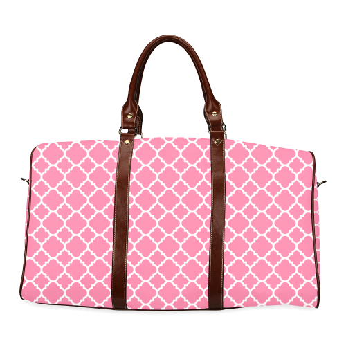 pink white quatrefoil classic pattern Waterproof Travel Bag/Large (Model 1639)