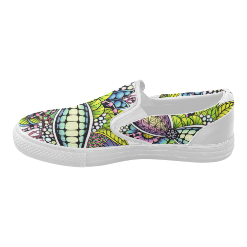 Bright fantasy flower in bright colors Women's Slip-on Canvas Shoes (Model 019)