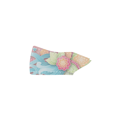 bright blue green pink yellow flowers Women's Slip-on Canvas Shoes (Model 019)