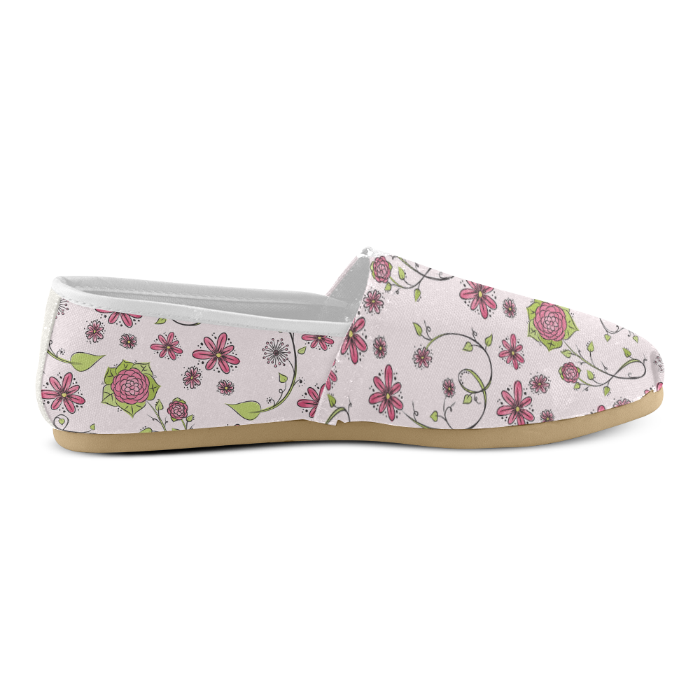 pink fantasy doodle flower pattern Unisex Casual Shoes (Model 004)