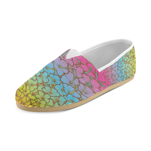 rainbow hibiscus flowers Unisex Casual Shoes (Model 004)
