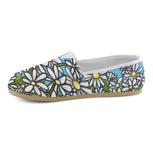 white daisy field flowers Unisex Casual Shoes (Model 004)