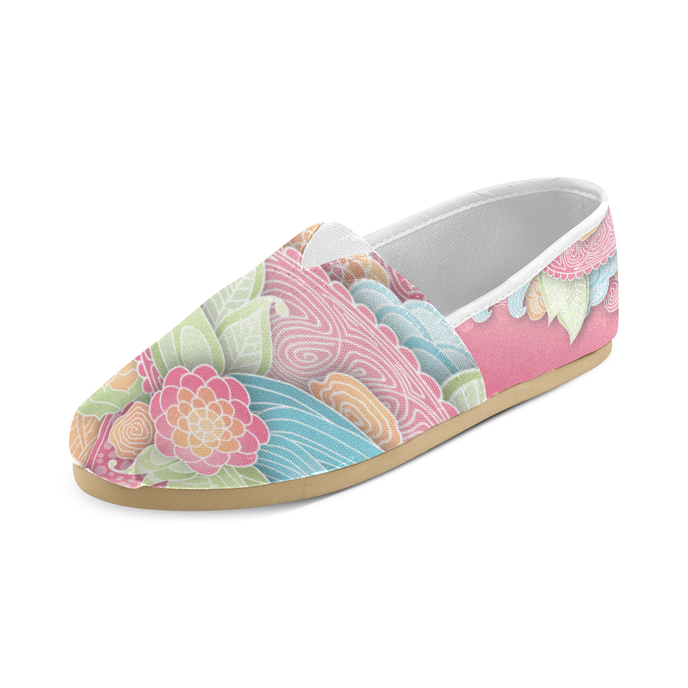 bright blue green pink yellow flowers Unisex Casual Shoes (Model 004)