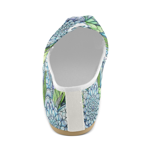 Blue Green flower drawing peaceful garden 2 Unisex Casual Shoes (Model 004)
