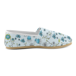 blue fantasy doodle flower pattern Unisex Casual Shoes (Model 004)