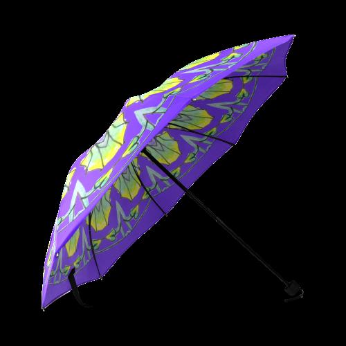 Yellow, Green, Purple Flowers, Leaves Mandala Deep Purple Foldable Umbrella (Model U01)