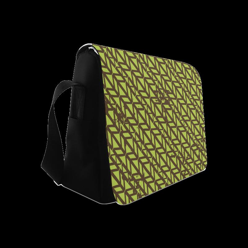 green geometric pattern Messenger Bag (Model 1628)