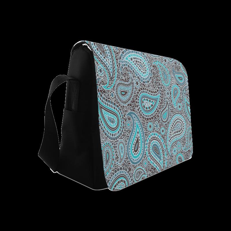 blue paisley mosaic design Messenger Bag (Model 1628)