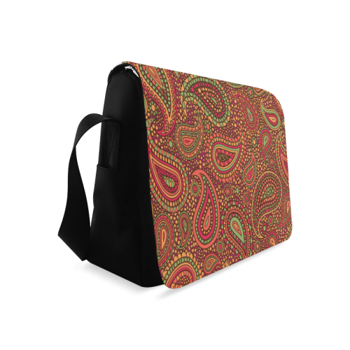 red paisley mosaic pattern Messenger Bag (Model 1628)