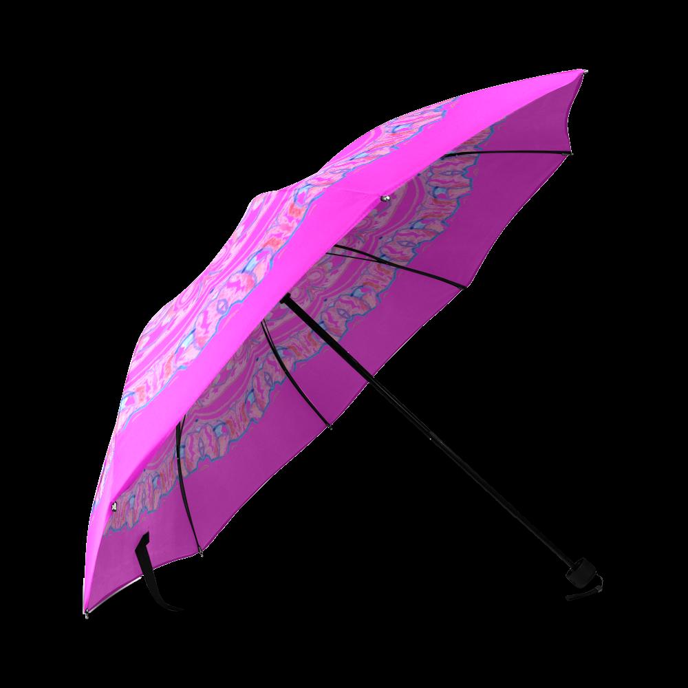 Pink Blue Ribbons, Flowers Valentangle Mandala Violet Foldable Umbrella (Model U01)