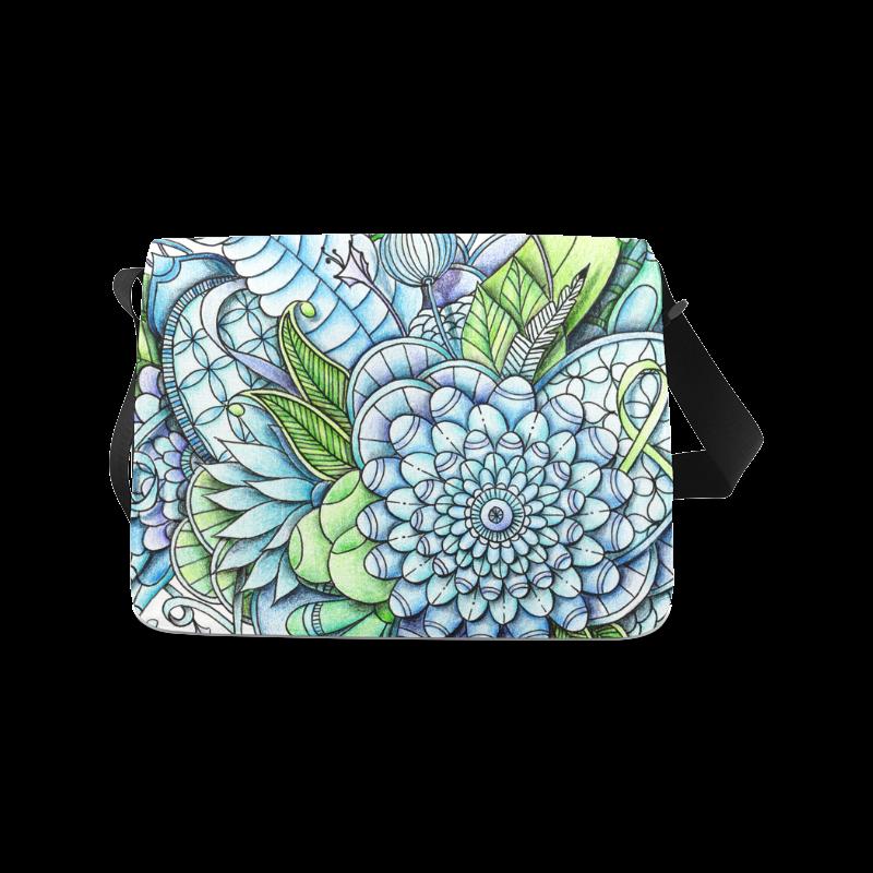 Blue Green flower drawing peaceful garden 2 Messenger Bag (Model 1628)