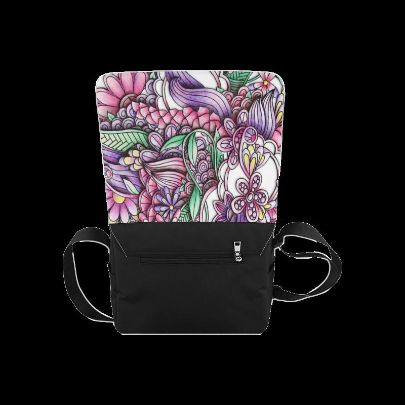 Pink Purple flower drawing Messenger Bag (Model 1628)