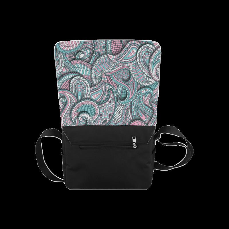Pink teal white fun ornate paisley pattern Messenger Bag (Model 1628)