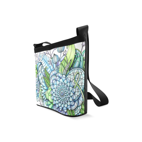 Blue Green flower drawing peaceful garden 2 Crossbody Bags (Model 1613)