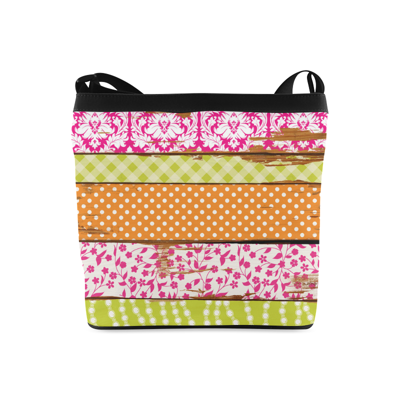 wood chipped painted patterns Crossbody Bags (Model 1613)