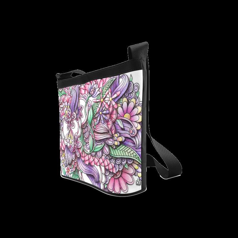 Pink Purple flower drawing Crossbody Bags (Model 1613)