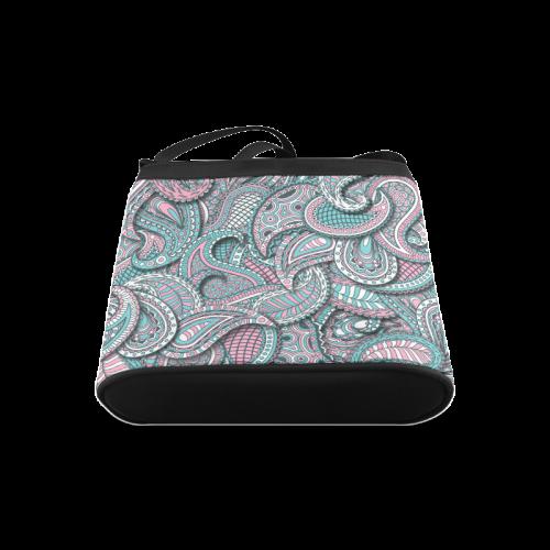 Pink teal white fun ornate paisley pattern Crossbody Bags (Model 1613)