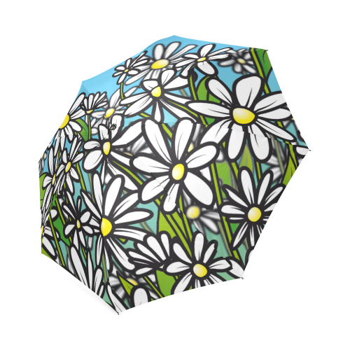 white daisy field flowers Foldable Umbrella (Model U01)
