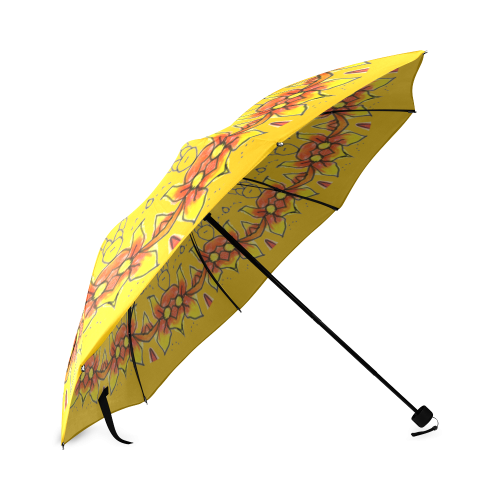 Dancing Orange Yellow Flowers Ladybugs Mandala Golden Foldable Umbrella (Model U01)