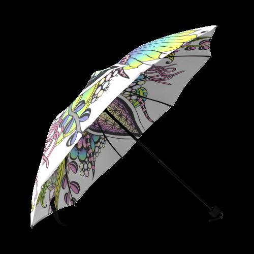 Bright fantasy flower in bright colors Foldable Umbrella (Model U01)