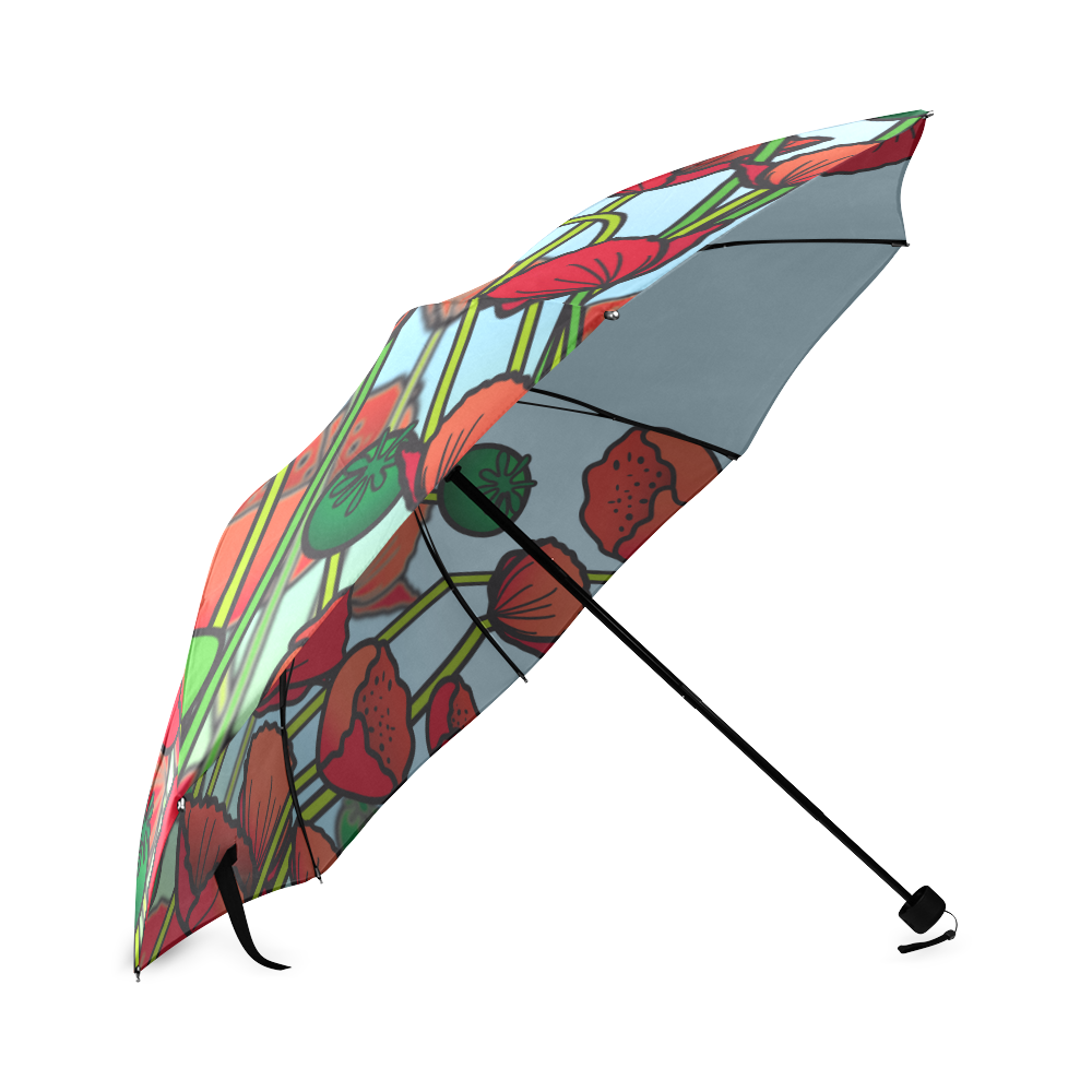 field of poppy flowers red floral Foldable Umbrella (Model U01)