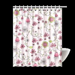 "pink fantasy doodle flower pattern Shower Curtain 60""x72"""