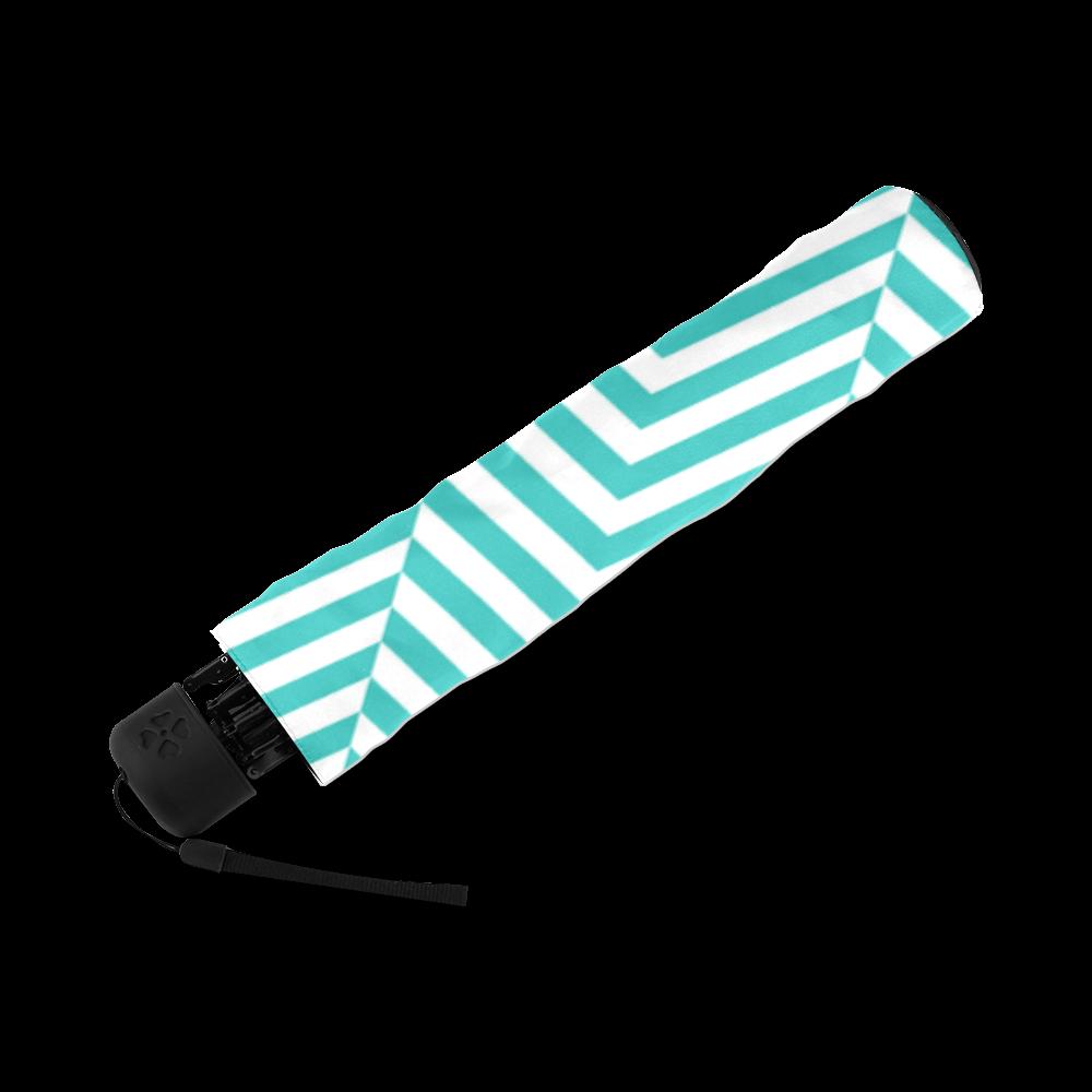 turquoise and white classic chevron pattern Foldable Umbrella (Model U01)