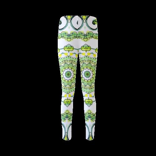 Green Lace Flowers, Leaves Mandala Design Cassandra Women's Leggings (Model L01)