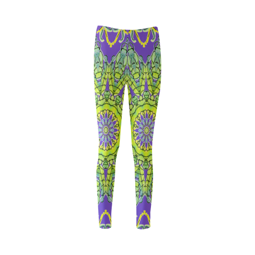 Lime Green Yellow Leaves Star Matrix Mandala Purple Cassandra Women's Leggings (Model L01)
