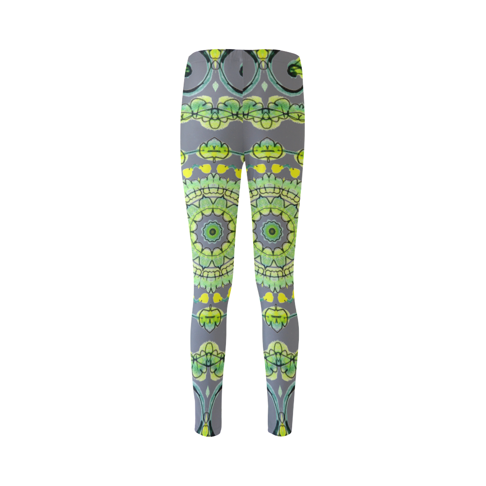 Green Lace Flowers, Leaves Mandala Design Gray Cassandra Women's Leggings (Model L01)