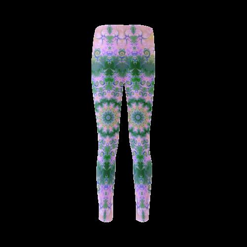 Rose Pink Green Explosion of Flowers Mandala Cassandra Women's Leggings (Model L01)
