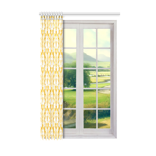 "damask pattern sunny yellow and white Window Curtain 50"" x 84""(One Piece)"