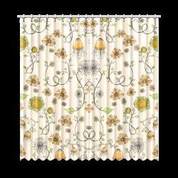 "yellow orange fantasy doodle flower pattern Window Curtain 52""x108""(Two Piece)"