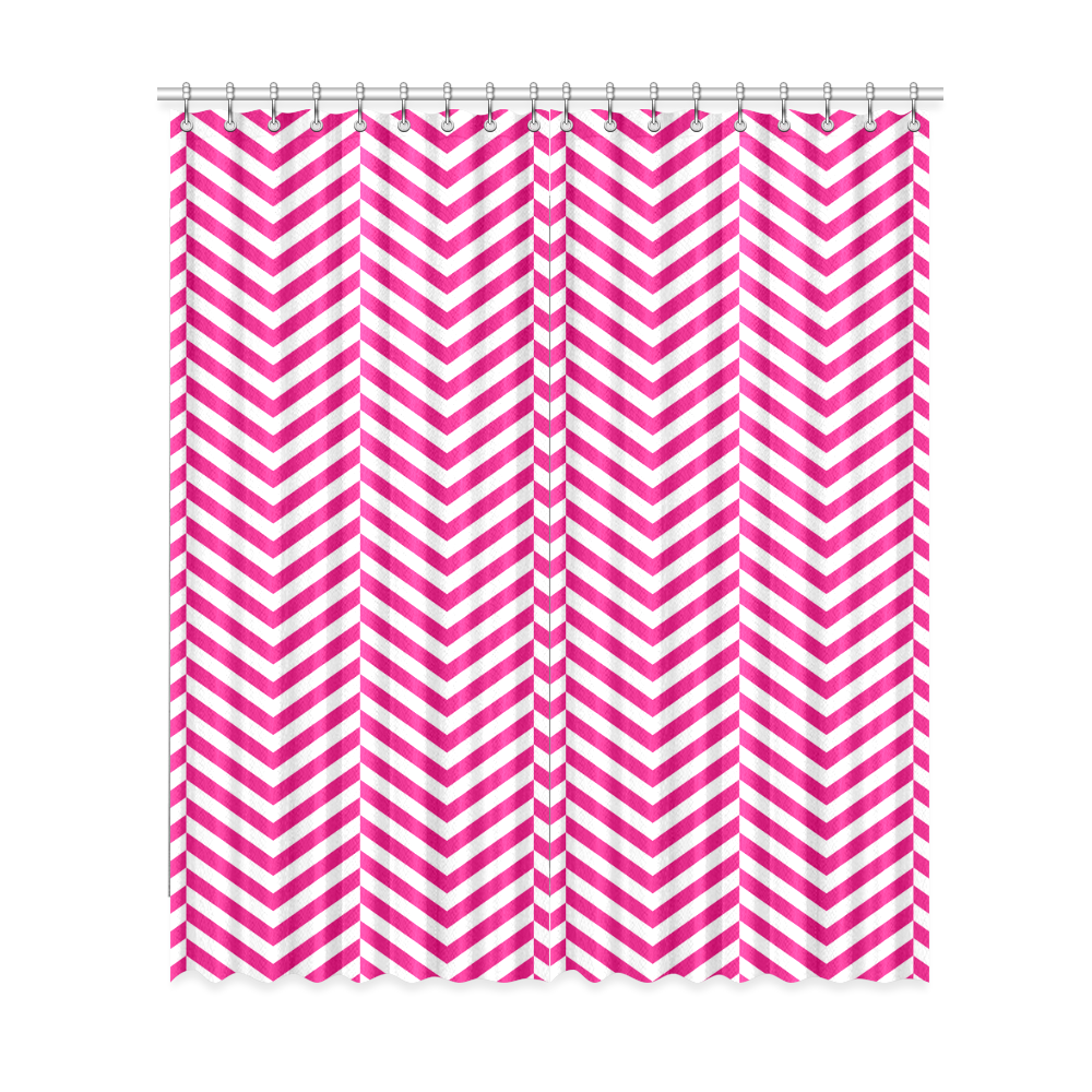"""hot pink and white classic chevron pattern Window Curtain 52""""x120""""(Two Piece)"""