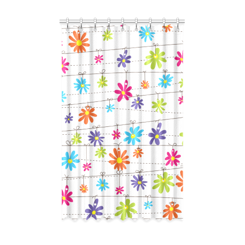 "colorful flowers hanging on lines Window Curtain 52"" x 84""(One Piece)"
